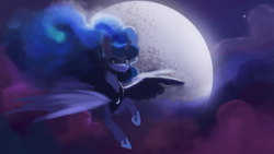Size: 1920x1080 | Tagged: safe, artist:hierozaki, princess luna, alicorn, pony, female, flying, mare, moon, night, solo