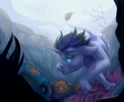Size: 3028x2500 | Tagged: safe, artist:jessicanyuchi, oc, oc:anthonystone, pony, unicorn, black sclera, commission, glowing eyes, male, stallion, swimming, underwater, ych result