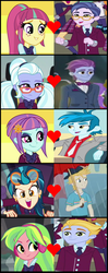 Size: 853x2161 | Tagged: safe, clayton potter, gold rush (character), indigo zap, larry cooper, lemon zest, lemonade blues, sour sweet, sugarcoat, sunny flare, thunderbass, eqg summertime shorts, equestria girls, equestria girls (movie), friendship games, legend of everfree, monday blues, background human, claytonsweet, cropped, female, glasses, goldzap, heart, male, shadow five, shipping, shipping domino, straight, thunderflare, zestblue
