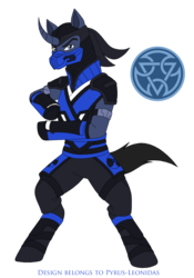 Size: 1545x2213 | Tagged: artist:pyrus-leonidas, clothes, crossover, mask, mortal kombat, ponified, pony, safe, simple background, solo, sub-zero, transparent background, unicorn