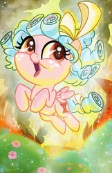 Size: 2650x4096 | Tagged: safe, artist:sophillia, cozy glow, pegasus, pony, cozybetes, cute, female, filly, flower, open mouth, solo