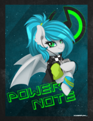 Size: 2200x2850 | Tagged: 80s, artist:ciderpunk, bat pony, clothes, oc, oc:power note, safe, scarf, synthwave