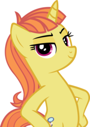 Size: 3090x4393 | Tagged: safe, artist:ironm17, citrus blush, pony, unicorn, bipedal, elegant, hooves on hips, looking at you, pose, simple background, smiling, smug, solo, transparent background, vector