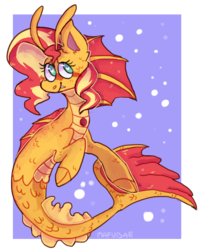Size: 767x969 | Tagged: abstract background, artist:mafubii, cute, cute little fangs, fangs, heart eyes, safe, shimmerbetes, siren, sirenified, species swap, sunset shimmer, sunset siren, wingding eyes