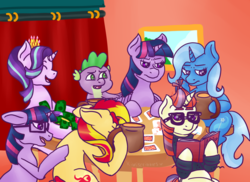 Size: 3850x2800 | Tagged: safe, artist:kiwiscribbles, moondancer, sci-twi, spike, starlight glimmer, sunset shimmer, trixie, twilight sparkle, alicorn, dragon, pony, unicorn, card, counterparts, crown, equestria girls ponified, female, floppy ears, gambling, glasses, jewelry, mare, money, poker, ponified, regalia, sitting, smiling, twilight sparkle (alicorn), twilight's counterparts, unicorn sci-twi, wavy mouth