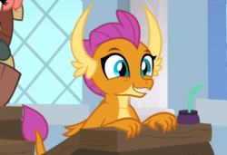 Size: 1367x937 | Tagged: a rockhoof and a hard place, claws, cropped, cute, desk, dragon, dragoness, female, happy, offscreen character, safe, screencap, sitting, smiling, smolder, smolderbetes, snipping tool, solo focus, spoiler:s08e21, yona