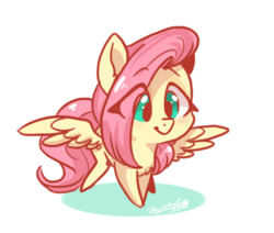 Size: 671x569 | Tagged: safe, artist:colorfulcolor233, fluttershy, pegasus, pony, chest fluff, chibi, cute, eye clipping through hair, female, mare, shyabetes, simple background, smiling, solo, spread wings, white background, wings