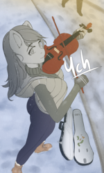 Size: 1440x2400 | Tagged: safe, artist:mintjuice, anthro, advertisement, case, clothes, commission, female, looking at you, mare, musician, outdoors, snow, snowfall, street, violin, winter, your character here