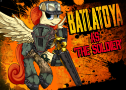 Size: 2182x1558 | Tagged: safe, artist:ruiont, oc, oc only, oc:batlatoya, pegasus, pony, borderlands, clothes, female, hooves, mare, solo, spread wings, text, wings