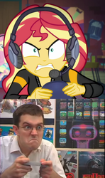 Size: 1150x1943 | Tagged: safe, edit, edited screencap, screencap, fluttershy, sunset shimmer, equestria girls, equestria girls series, game stream, spoiler:eqg series (season 2), angry, angry video game nerd, comparison, controller, gamer, headset, james rolfe, psycho gamer sunset, rage, sunset gamer