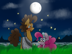 Size: 2048x1536 | Tagged: artist:summer-cascades, blushing, cheesepie, cheese sandwich, clothes, cloud, cloudy, earth pony, female, fireflies (insect), firefly (insect), full moon, glow, grass, hat, male, moon, night, pinkie pie, poncho, pony, safe, ship, shipping, straight