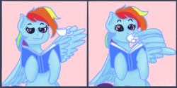 Size: 3400x1700 | Tagged: artist:kiwiscribbles, book, comic, cup, feather fingers, female, pegasus, pony, rainbow dash, safe, solo, teacup, wing hands, wings