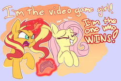 Size: 1800x1200 | Tagged: safe, artist:heir-of-rick, fluttershy, sunset shimmer, pegasus, pony, unicorn, equestria girls, equestria girls series, game stream, spoiler:eqg series (season 2), angry, crying, cute, female, game grumps, gamer sunset, giggling, grumpset shimmer, hidden cane, laughing, mare, not so grumpershy, psycho gamer sunset, rageset shimmer, reference, shyabetes, sunset shimmer frustrated at game, tears of laughter, that pony sure have anger issues, video game