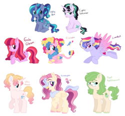 Size: 1675x1560 | Tagged: alternate universe, artist:unoriginai, changeling, colt, crack shipping, cute, cutie mark, female, filly, flying, hippogriff, hybrid, male, mare, next generation, oc, ocbetes, oc only, offspring, parent:apple bloom, parent:applejack, parent:chancellor neighsay, parent:cloudy quartz, parent:fluttershy, parent:gallus, parent:pinkie pie, parent:princess cadance, parent:princess flurry heart, parent:queen chrysalis, parent:queen novo, parent:rainbow dash, parent:rarity, parents:chrysaheart, parents:cloudyjack, parents:galluspie, parents:novoshy, parents:raindance, parents:starsay, parent:starlight glimmer, parents:twibloom, parents:zephyrity, parent:twilight sparkle, parent:zephyr breeze, pegasus, safe, shipping, stallion, unicorn