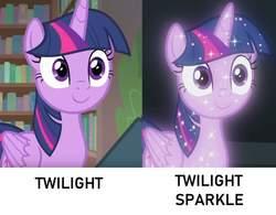 Size: 1118x870   Tagged: safe, edit, edited screencap, screencap, twilight sparkle, alicorn, pony, starlight the hypnotist, what lies beneath, spoiler:interseason shorts, bookshelf, c:, cute, female, glow, mare, pun, shiny, smiling, solo, sparkles, treelight sparkle, twiabetes, twilight sparkle (alicorn), visual pun, wide eyes