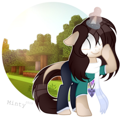 Size: 1437x1397 | Tagged: artist:mintoria, clothes, female, glowing eyes, magic, mare, oc, oc:herobrine, oc only, pony, safe, scarf, solo, unicorn