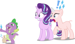 Size: 3442x2032 | Tagged: artist:badumsquish, artist:dogjedi, artist:dragonchaser123, artist:sinkbon, artist:sketchmcreations, artist:tardifice, cutie mark, dragon, edit, editor:slayerbvc, exclamation point, faic, female, furless, furless edit, holding, male, mare, nervous, no eyelashes, nude edit, nudity, panicking, pictogram, raised hoof, rarity, sack, safe, shaved, shaved tail, simple background, spike, starlight glimmer, this will end in death, this will end in tears, this will end in tears and/or death, transparent background, unicorn, vector, vector edit, winged spike, worried