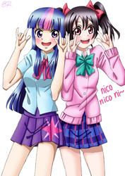 Size: 545x770 | Tagged: anime, artist:tastyrainbow, blushing, clothes, cute, devil horn (gesture), equestria girls, human coloration, love live! school idol project, miniskirt, moe, nico nico nii, nico yazawa, pigtails, pleated skirt, safe, skirt, twilight sparkle