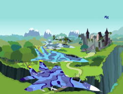 Size: 3600x2771 | Tagged: safe, artist:lonewolf3878, princess luna, alicorn, pony, ah-64 apache, castle of the royal pony sisters, f-14 tomcat, f/a-18 hornet, fa-18 hornet, female, fighter plane, flying, helicopter, jet, jet fighter, machine, mare, mig-29, new lunar republic, plane, ravine, ruins, scenery, solo
