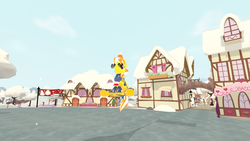 Size: 1920x1080 | Tagged: safe, oc, oc:ivory nightfall, pegasus, pony, banner, candy, candy cap, candy corn, clothes, equestria winter games, equestria winter games 2019, food, game, game screencap, ice, legends of equestria, male, mmorpg, moonlight armor, peppermint scarf, ponydale, ponyville, scarf, sky, snow, stallion, sunglasses, trafficorn, video game, winter, winter banner