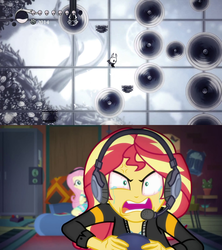 Size: 1279x1440   Tagged: safe, edit, screencap, fluttershy, sunset shimmer, equestria girls, equestria girls series, game stream, spoiler:eqg series (season 2), angry, bloodshot eyes, comparison, cross-popping veins, crying, female, frustrated, gamer sunset, hollow knight, meme, psycho gamer sunset, rage, rageset shimmer, shimmercode, shrunken pupils, sunset shimmer frustrated at game, tears of anger, tears of rage, teary eyes, tell me what you need