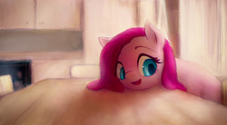 Size: 1280x704 | Tagged: safe, artist:plotcore, pinkie pie, earth pony, pony, cute, cuteamena, diapinkes, female, indoors, mare, open mouth, pinkamena diane pie, smiling, solo, table