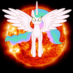 Size: 2400x2400 | Tagged: safe, artist:guardian talon, princess celestia, pony, angry, cover art, glowing eyes, missing accessory, solo, sun, sun god