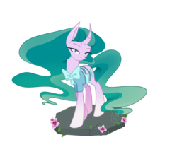 Size: 1024x854 | Tagged: artist:eclipse-glimmer, bow, colored pupils, curved horn, cute, female, flower, horn, mare, mistabetes, mistmane, pony, safe, simple background, solo, transparent background, unicorn