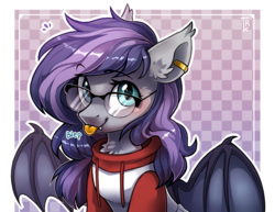 Size: 3088x2379 | Tagged: abstract background, artist:trickate, bat pony, bat pony oc, checkered background, chest fluff, clothes, commission, cute, ear fluff, ear piercing, earring, ear tufts, fangs, female, floppy ears, fluffy, glasses, hoodie, jewelry, looking at you, mare, oc, oc:andromeda galaktika, ocbetes, :p, piercing, pony, safe, silly, smiling, solo, spread wings, tongue out, wings