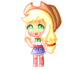 Size: 2222x2000 | Tagged: applejack, artist:smollawliet, blushing, chibi, cute, equestria girls, female, heart eyes, human, jackabetes, open mouth, safe, simple background, solo, transparent background, wingding eyes