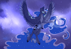 Size: 1900x1300   Tagged: safe, artist:celticsphinx, princess luna, alicorn, pony, colored wings, curved horn, cute, ear fluff, ethereal fetlocks, ethereal mane, female, flying, gradient horn, horn, impossibly large tail, leg fluff, lidded eyes, lunabetes, mare, markings, multicolored wings, newbie artist training grounds, night, profile, sky, solo, spread wings, starry mane, starry night, stars, unshorn fetlocks, wing fluff, wings