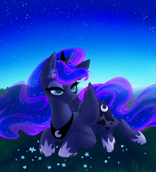 Size: 2305x2537 | Tagged: safe, artist:moonlitamberblossom, princess luna, alicorn, pony, bedroom eyes, collar, colored pupils, crown, cute, digital art, ear fluff, ethereal mane, female, flower, folded wings, grass, high res, hoof shoes, jewelry, lidded eyes, lunabetes, lying down, mare, prone, regalia, sky, smiling, solo, starry mane, stars, wings