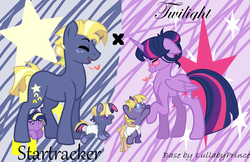 Size: 1378x893 | Tagged: safe, artist:blazetoop, star tracker, twilight sparkle, oc, alicorn, pony, alternate hairstyle, baby, baby pony, base used, canon x oc, cute, eyes closed, family, female, floating heart, glasses, hair bun, heart, male, ocbetes, offspring, parent:star tracker, parent:twilight sparkle, parents:twitracker, profile, shipping, stallion, straight, trackerbetes, twiabetes, twilight sparkle (alicorn), twitracker