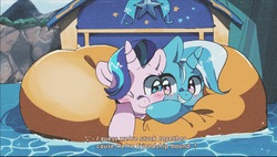 Size: 2672x1519 | Tagged: safe, artist:poneko-chan, starlight glimmer, trixie, pony, unicorn, road to friendship, blushing, cheek squish, cheek to cheek, cute, diatrixes, duo, eye contact, female, friendshipping, ghastly gorge, glimmerbetes, i guess we're stuck together, inflatable, inflatable raft, looking at each other, mare, one eye closed, prone, raft, scene interpretation, shipping fuel, snuggling, squished, squishy cheeks, trixie's wagon, we're friendship bound