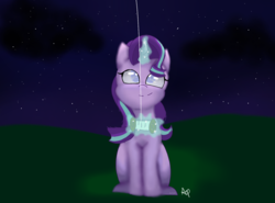 Size: 1557x1152 | Tagged: artist:auradashiepie, glowing horn, kite, kite flying, looking up, night, pony, safe, smiling, solo, starlight glimmer, that pony sure does love kites, unicorn
