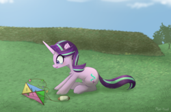 Size: 2581x1685 | Tagged: artist:puetsua, crying, female, horn, kite, mare, pony, sad, safe, solo, starlight glimmer, that pony sure does love kites, unicorn