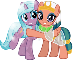 Size: 5014x4075 | Tagged: safe, artist:jhayarr23, radiant hope, somnambula, crystal pony, pegasus, pony, unicorn, idw, absurd resolution, clothes, cute, duo, duo female, eyeliner, eyeshadow, female, friendshipping, glowpaz, hopabetes, hope, hug, idw showified, looking at you, makeup, mare, see-through, show accurate, simple background, smiling, somnambetes, sweet dreams fuel, transparent background, vector