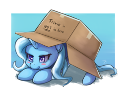 Size: 1414x1000 | Tagged: safe, artist:the-park, trixie, pony, unicorn, blatant lies, blush sticker, blushing, border, box, camouflage, cardboard box, colored pupils, crouching, cute, daaaaaaaaaaaw, diatrixes, face down ass up, female, gradient background, hiding, hnnng, horn, lidded eyes, mare, metal gear, pony in a box, prone, seems legit, signature, silly, silly pony, simple background, smiling, smirk, sneak 100, solo, starry eyes, stealth, white background, wingding eyes