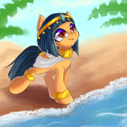 Size: 3000x3000 | Tagged: artist:chaosangeldesu, blurry, clothes, earth pony, egyptian, egyptian pony, eyeliner, female, gold, headband, jewelry, looking up, makeup, mare, oasis, oc, oc only, oc:sacred wind, palm tree, pony, safe, sand, sky, smiling, solo, straight mane, tree, water