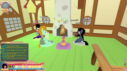 Size: 1920x1080 | Tagged: bird house, candle, carpet, chimney, clock, cottage, earth pony, female, filly, fire, fireplace, firewood, fluttershy's cottage, fluttershy's cottage (interior), foal, framed picture, fyre flye armor, game, game screencap, hat, heartlands cottage, joyous beard, lantern, legends of equestria, male, mare, mmorpg, mouth hold, oc, oc:deep sky, oc:lavender nightmare, pegasus, pet, pillow, pony, prismatic lantern, rabbit, rockhoof, safe, santa beard, scootaloo, sitting, stallion, top hat, unicorn, vertical striped socks (loe), video game, window