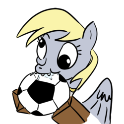 Size: 850x850 | Tagged: safe, artist:velgarn, derpy hooves, pony, 4chan cup, chewing, derp, drool, eating, football, request, safest hooves, silly, silly pony, simple background, solo, sports