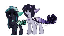 Size: 1280x715   Tagged: safe, artist:php146, oc, oc only, oc:naomi, oc:takao, original species, pony, suisei pony, chibi, closed species, eye clipping through hair, male, simple background, white background