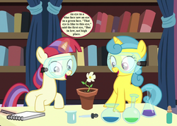Size: 1008x720 | Tagged: safe, edit, edited screencap, screencap, lemon hearts, moondancer, pony, unicorn, celestial advice, beaker, book, bookshelf, cropped, curtains, cute, dancerbetes, dialogue, erlenmeyer flask, female, filly, filly lemon hearts, filly moondancer, flower, flower pot, lemonbetes, notepad, punctuation error, riddle, safety goggles, smiling, speech bubble, the hobbit, younger