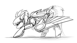 Size: 2400x1364 | Tagged: artist:underpable, cloudchaser, female, mare, monochrome, pegasus, pony, robot, roboticization, robot pony, safe, simple background, sketch, solo, traditional art, white background