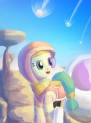 Size: 1400x1900 | Tagged: armor, artist:tehwatever, clip studio paint, clothes, desert, desert flower, digital painting, dragon ball z, hijab, pony, rock, safe, saiyan armor, scarf, scouter, sky, solo, somnambula resident, space pod