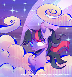 Size: 1280x1376   Tagged: safe, artist:mysteriousshine, twilight sparkle, alicorn, pony, bust, chest fluff, cloud, female, retrowave, solo, twilight sparkle (alicorn), vaporwave