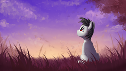 Size: 3840x2160 | Tagged: safe, artist:setharu, oc, oc only, pony, commission, looking up, male, sky, solo, stallion, tree