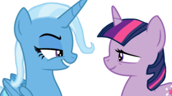 Size: 1024x574 | Tagged: alicorn, alicornified, alternate universe, artist:nightshadowmlp, base used, no second prances, race swap, role reversal, safe, show accurate, simple background, trixie, trixiecorn, twilight sparkle, unicorn, unicorn twilight, white background