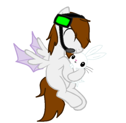 Size: 588x574 | Tagged: safe, artist:midnightdarkhybrid, angel bunny, oc, oc:deadlox, oc:enderlox, dracony, hybrid, pony, rabbit, blank flank, brown hair, colored wings, crossover, cute, deadlox, dragon wings, duo, enderdragon, eyes closed, flying, headphones, headset, hug, loxabetes, male, mcyt, microphone, minecraft, non-mlp oc, ocbetes, ponified, ponified oc, simple background, smiling, team crafted, white background, youtube