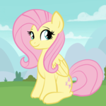 Size: 2100x2100 | Tagged: safe, artist:sjart117, fluttershy, pegasus, pony, bush, cloud, female, folded wings, grass, looking sideways, mare, mountain, outdoors, sitting, sky, smiling, solo, three quarter view, tree, wings